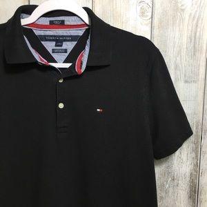 Tommy Hilfiger Black Polo Shirt Size Medium